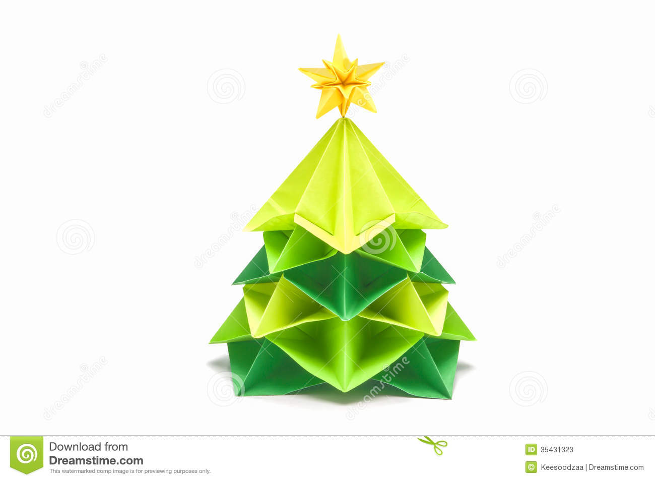 Paper Christmas Tree Have Star Topper Stock Photos Image