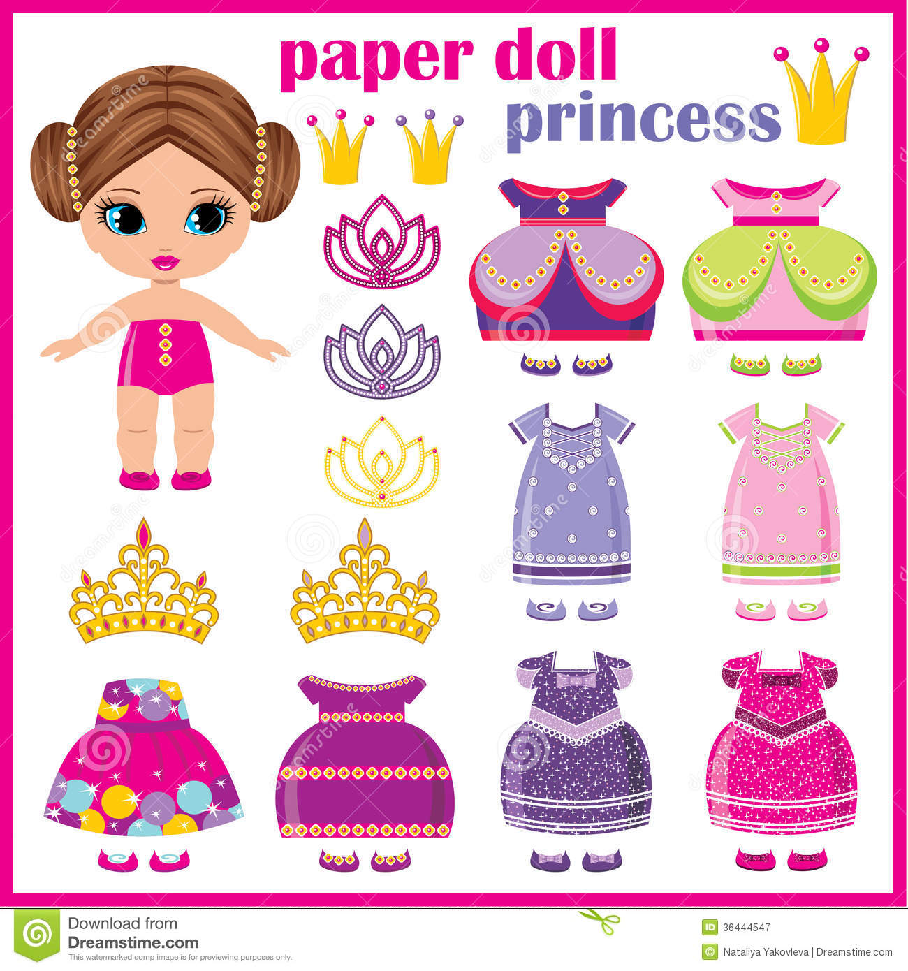 Paper Doll Princess Stock Vector Illustration Of