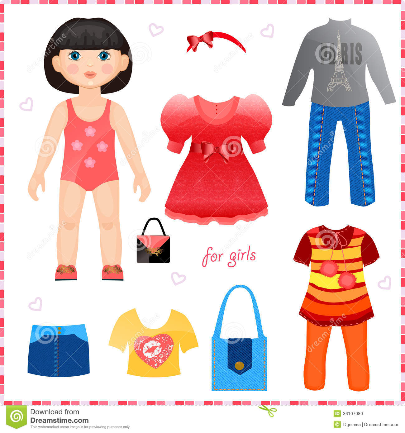 Paper Doll With A Set Of Clothes Cute Fashion Gir Stock