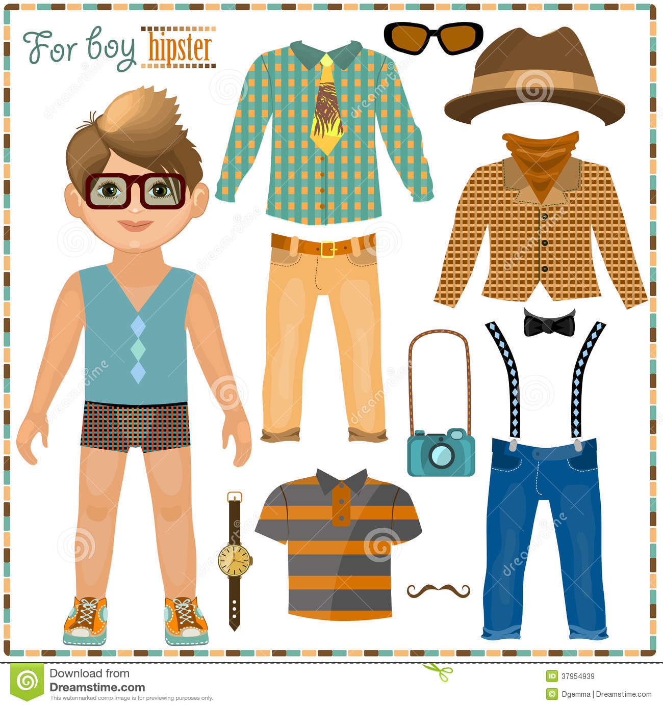 Paper Doll With A Set Of Clothes Cute Hipster Boy