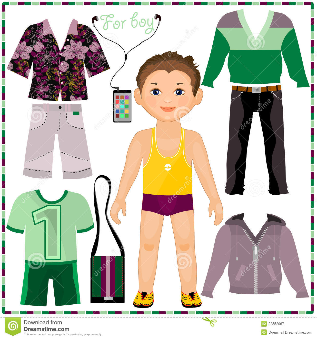Paper Doll With A Set Of Fashionable Clothing Cut Stock