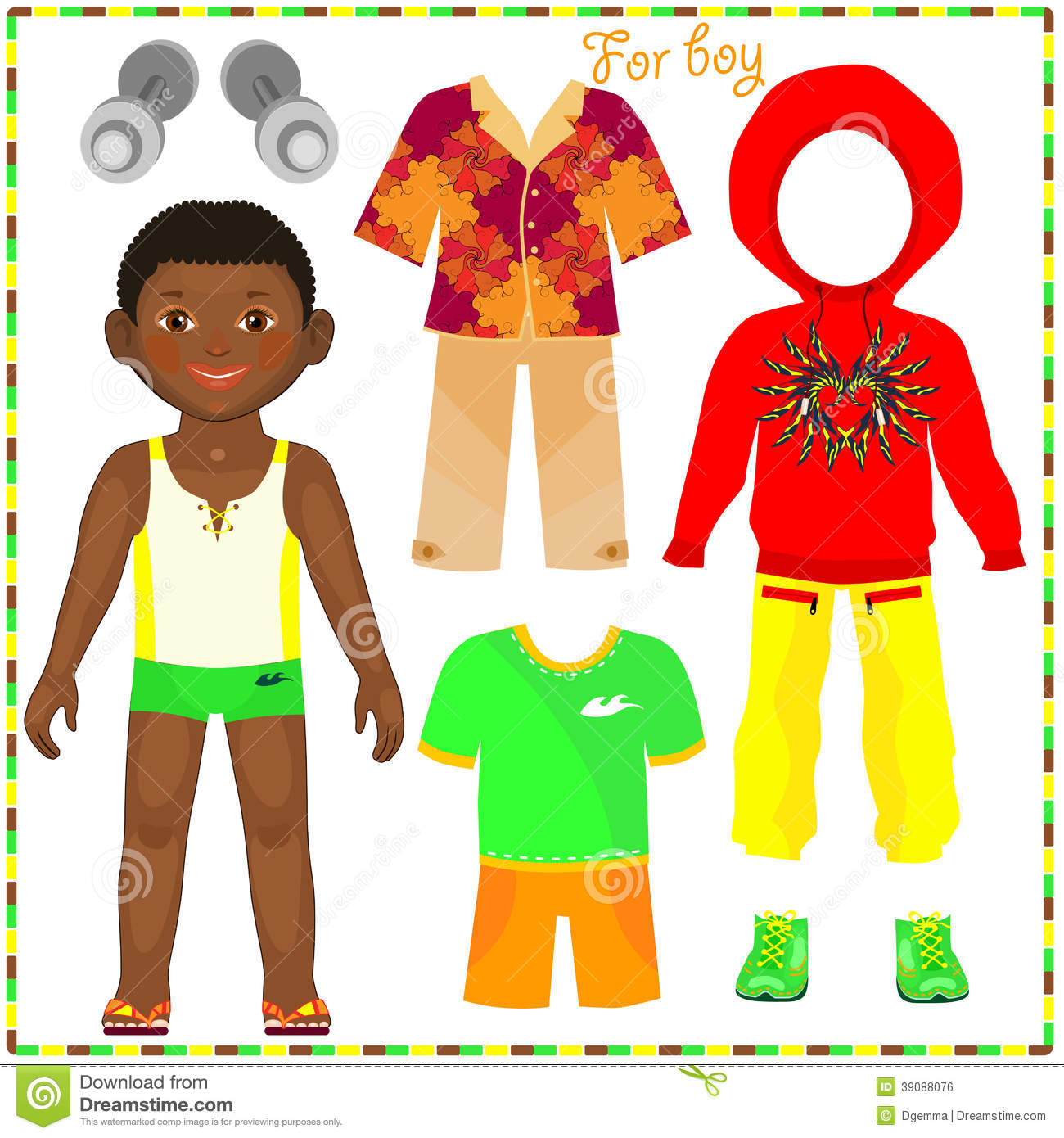 Paper Doll With A Set Of Fashionable Clothing Stock