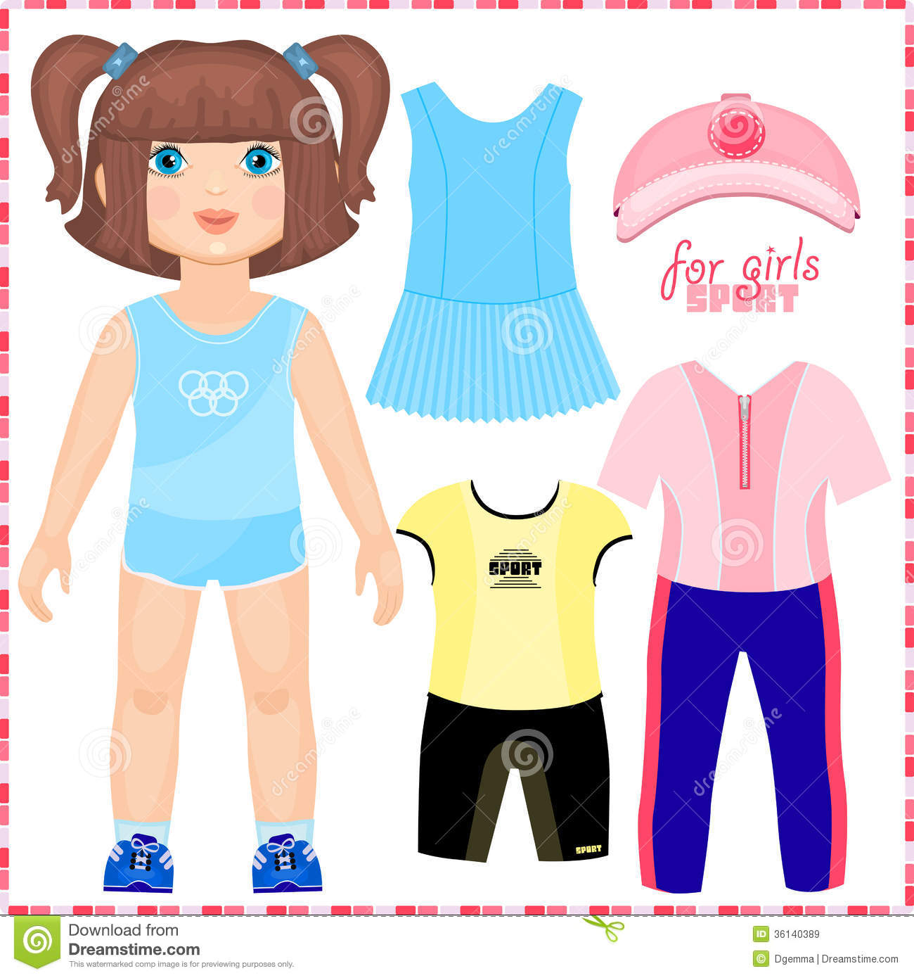 Paper Doll With A Set Of Sport Clothes Royalty Free Stock