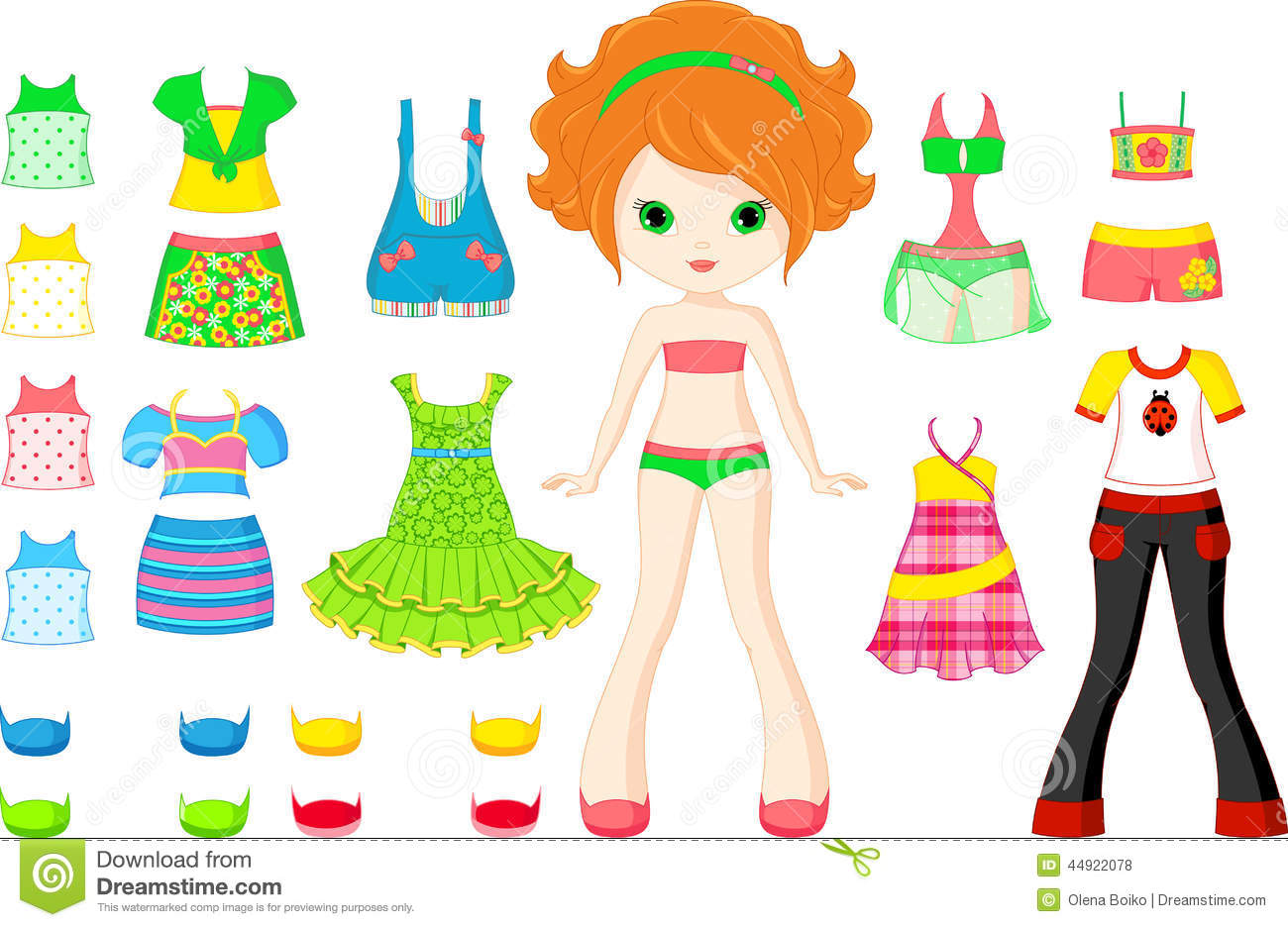 Paper Doll Cartoon Vector