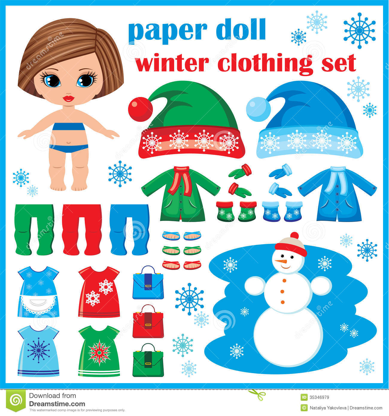 Paper Doll With Winter Clothes Set Royalty Free Stock
