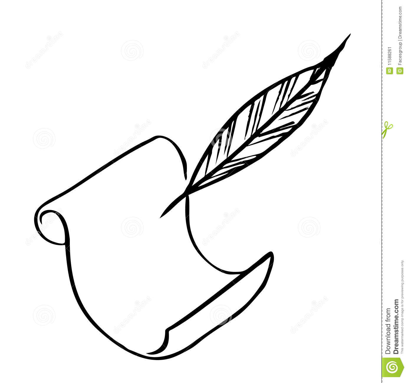 Paper With Feather Vector Stock Image
