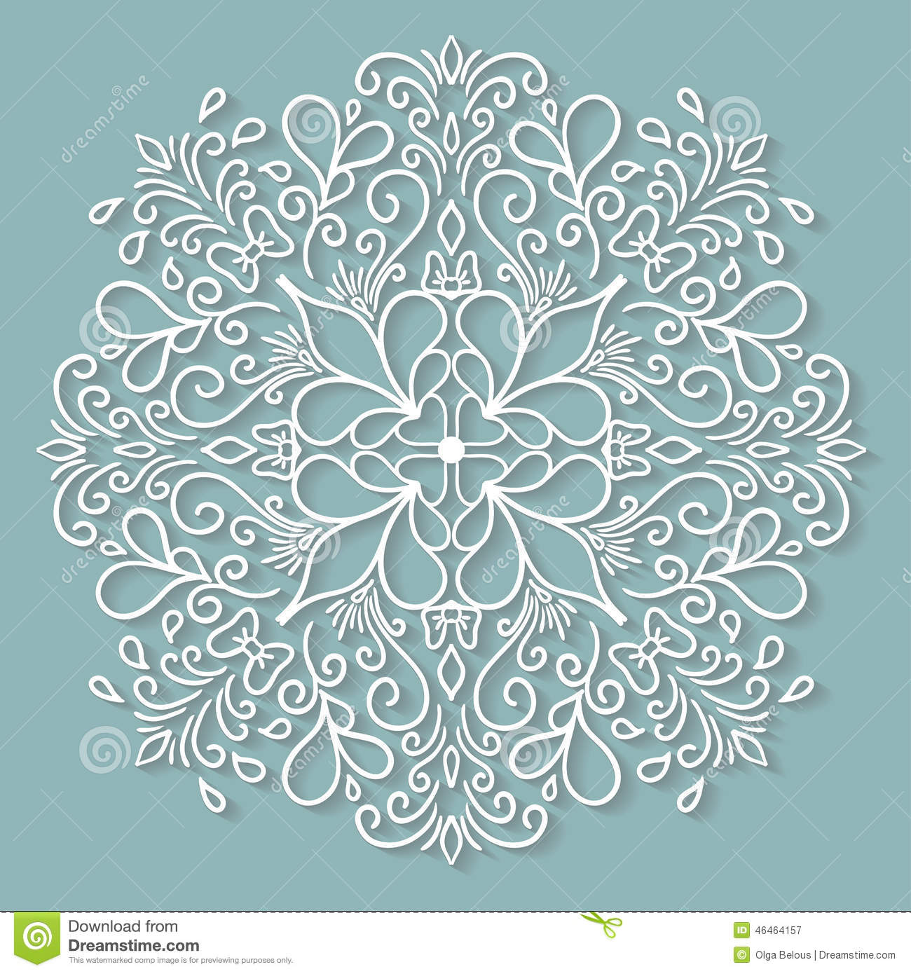 Paper Lace Doily Decorative Snowflake Round Stock Vector