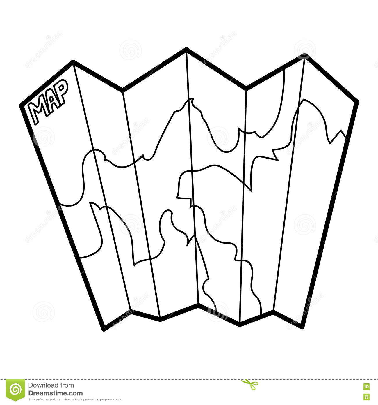 Paper Map Icon Outline Style Stock Vector
