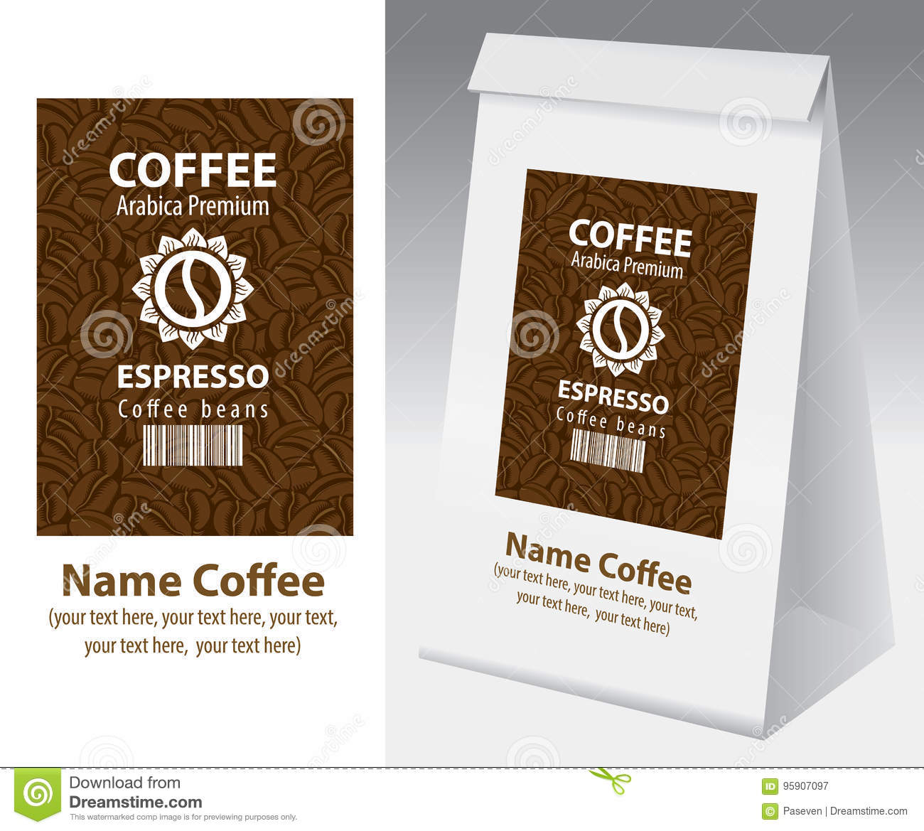 Paper Packaging With Label For Coffee Bean Stock Vector