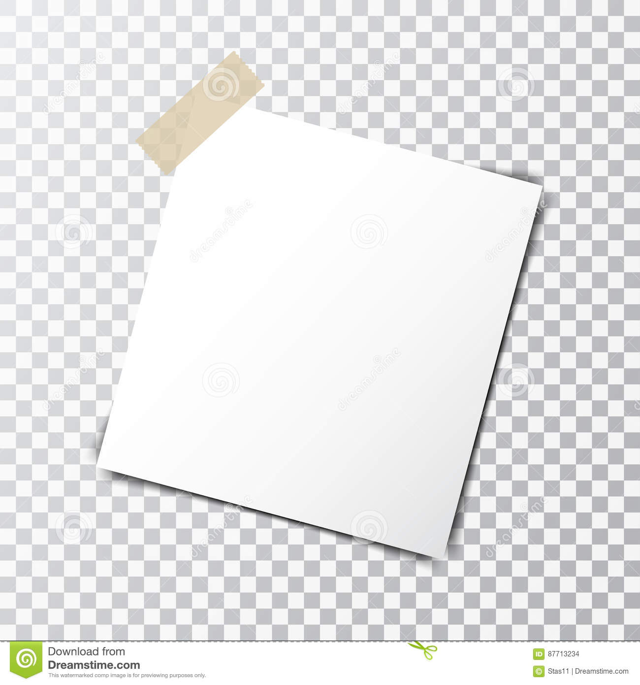 Paper Sheet On Sticky Tape With Transparent Shadow