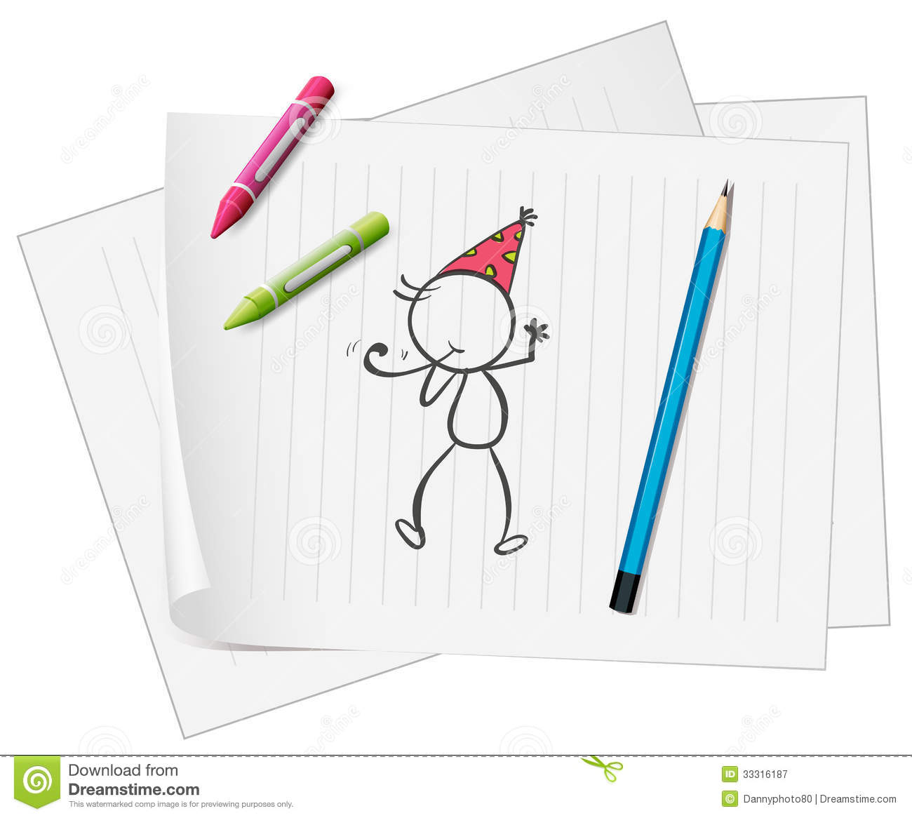 A Paper With A Sketch Of A Person With Crayons And A