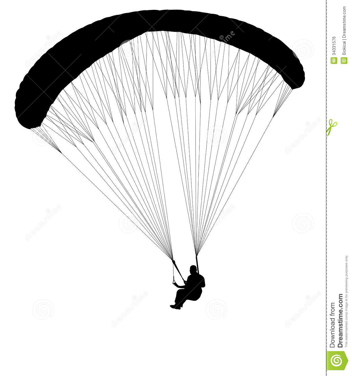 Paragliding Silhouette Stock Vector Illustration Of