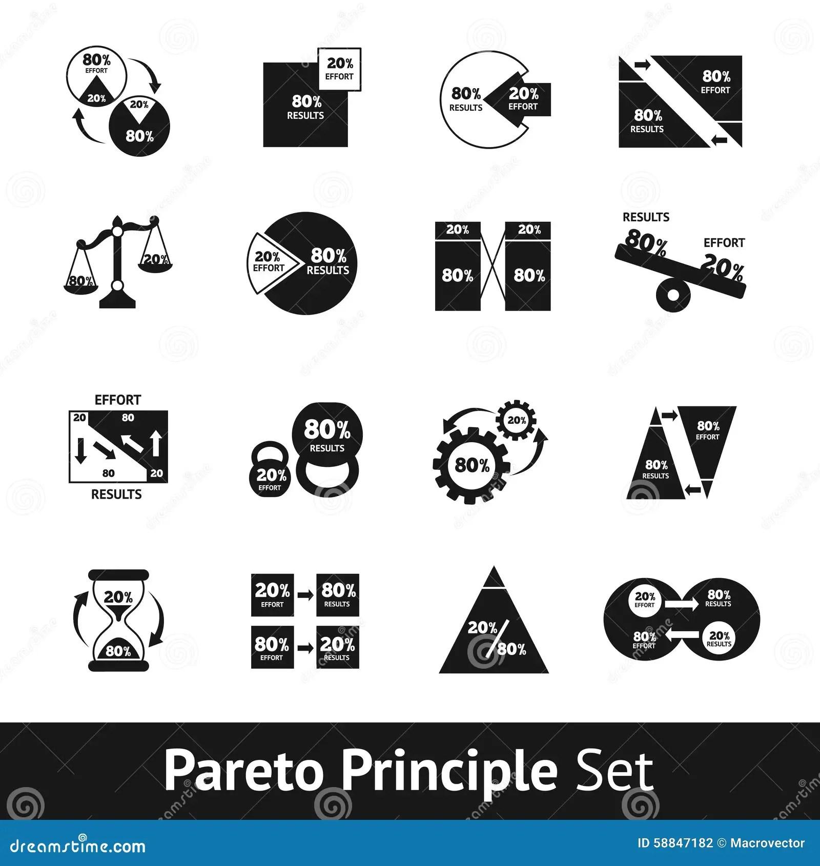 Pareto Diagram Set Stock Vector Illustration Of