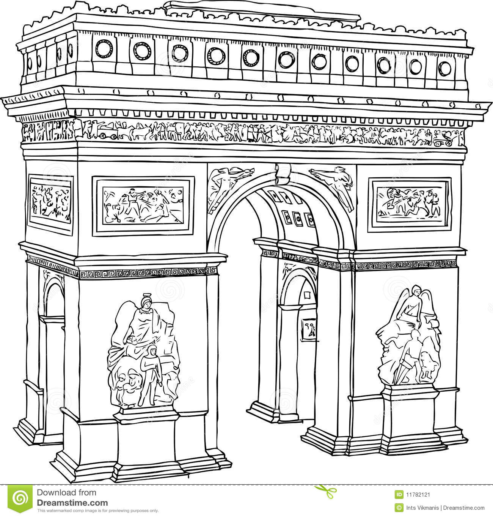 Paris Triumph Arc Stock Vector Illustration Of Drawn