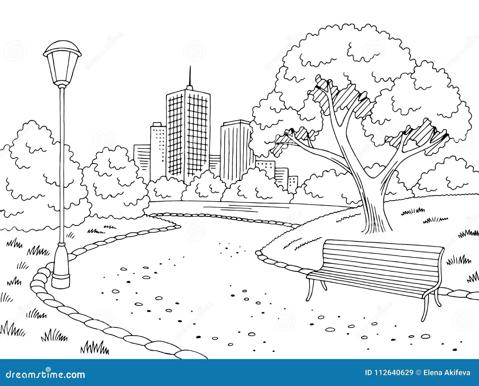 Park Bench Black White Stock Illustrations 540 Park