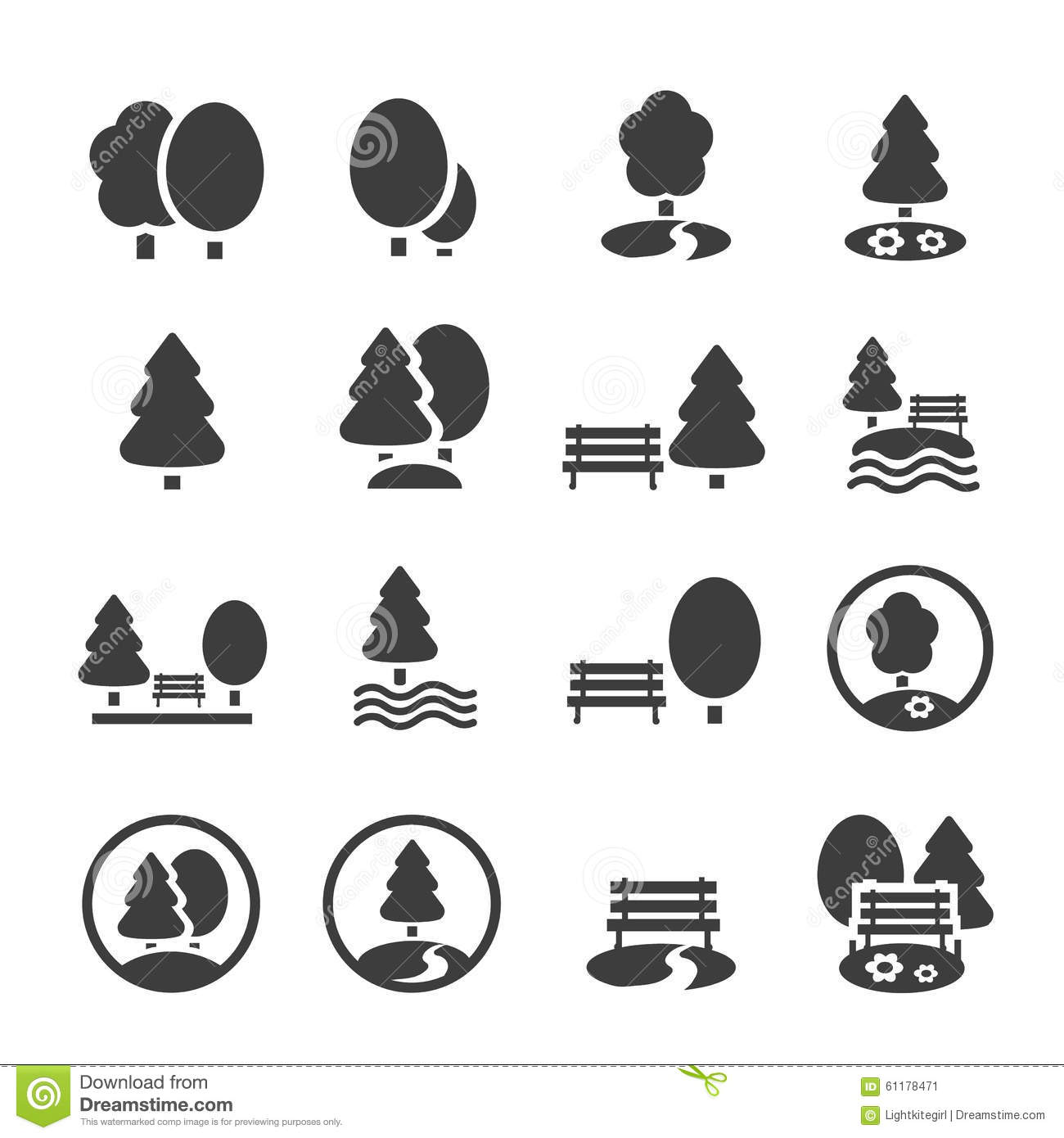 Park Icon Set Trees Forest Vector Icons Stock Vector