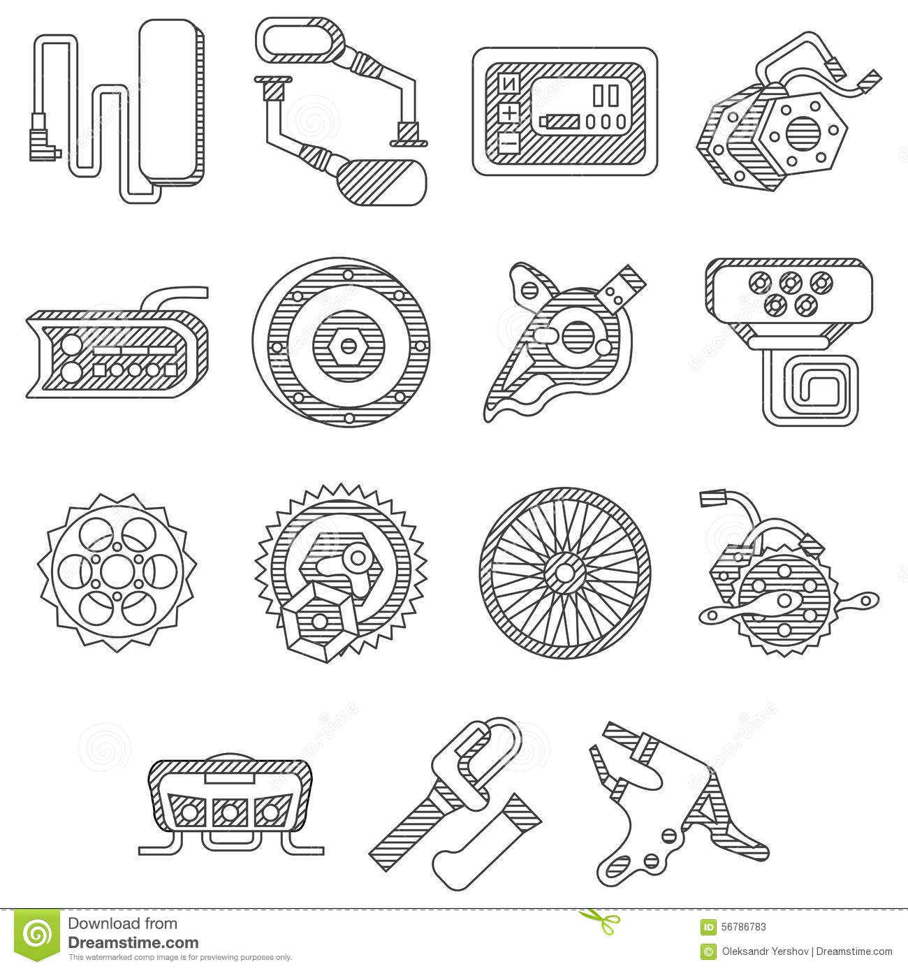 Parts For Electric Bike Flat Line Icons Stock Illustration