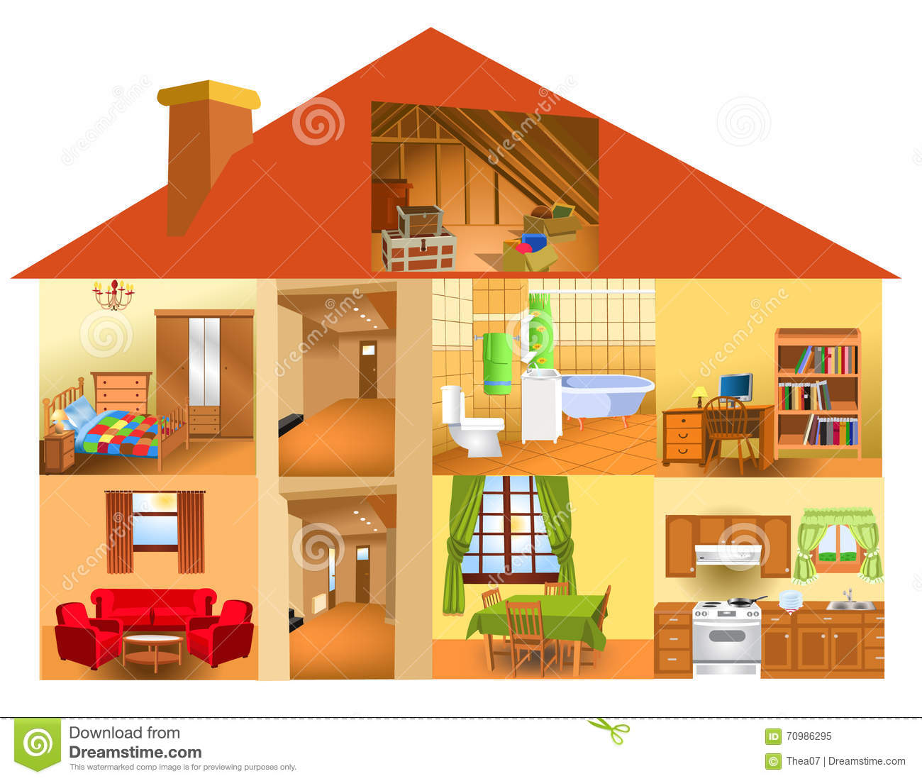 Parts Of The House Stock Vector Illustration Of Computer
