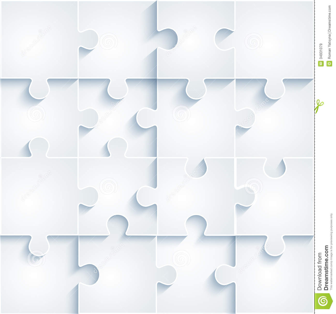 Parts Of Paper Puzzles Business Concept Template Stock