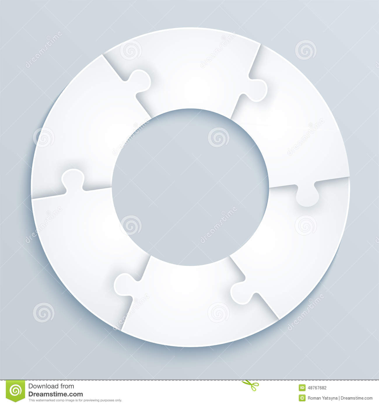 Parts Of Paper Puzzles In The Form Of A Circle Of 6 Pieces
