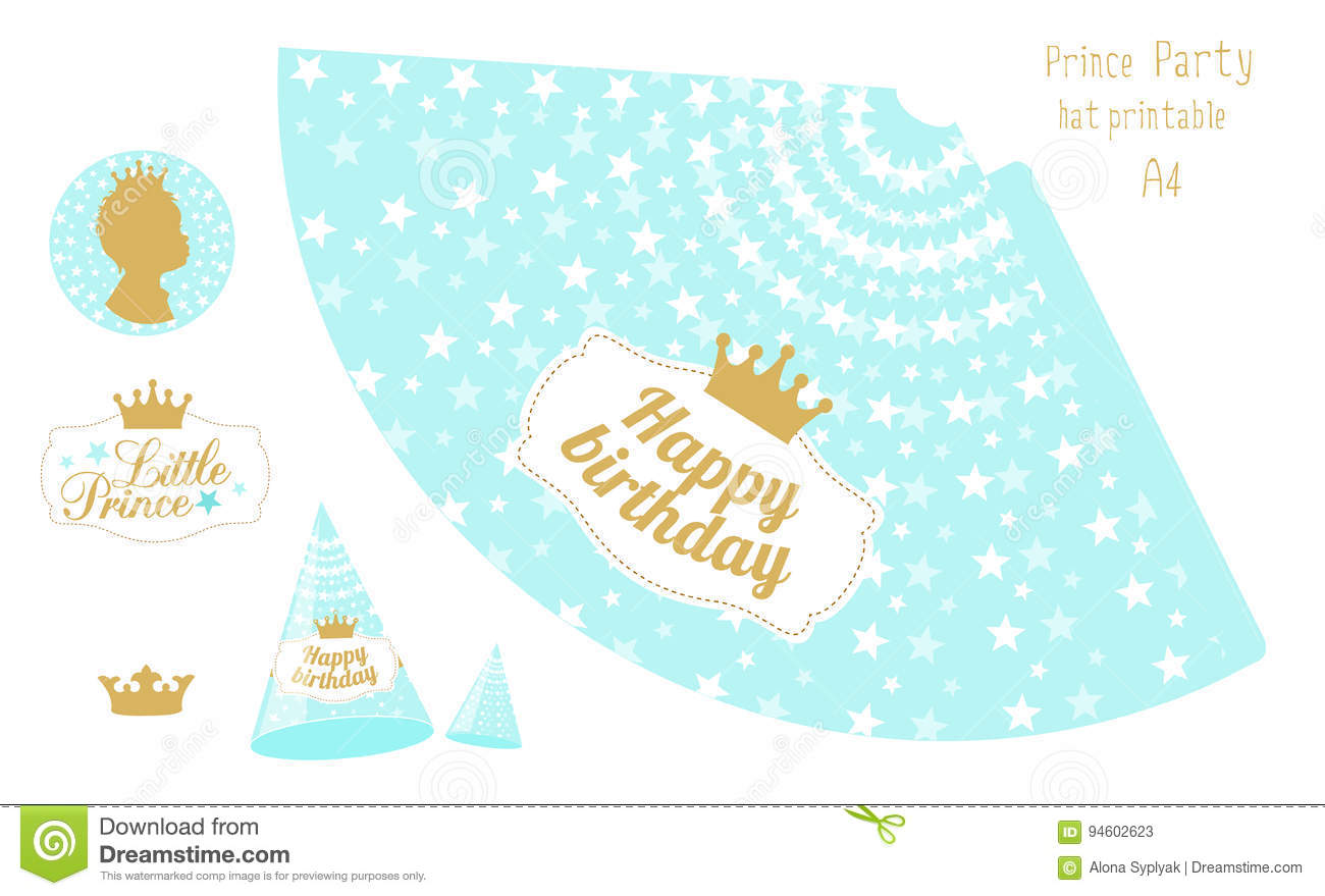 Party Hats Printable Blue And Gold Prince Party Stock