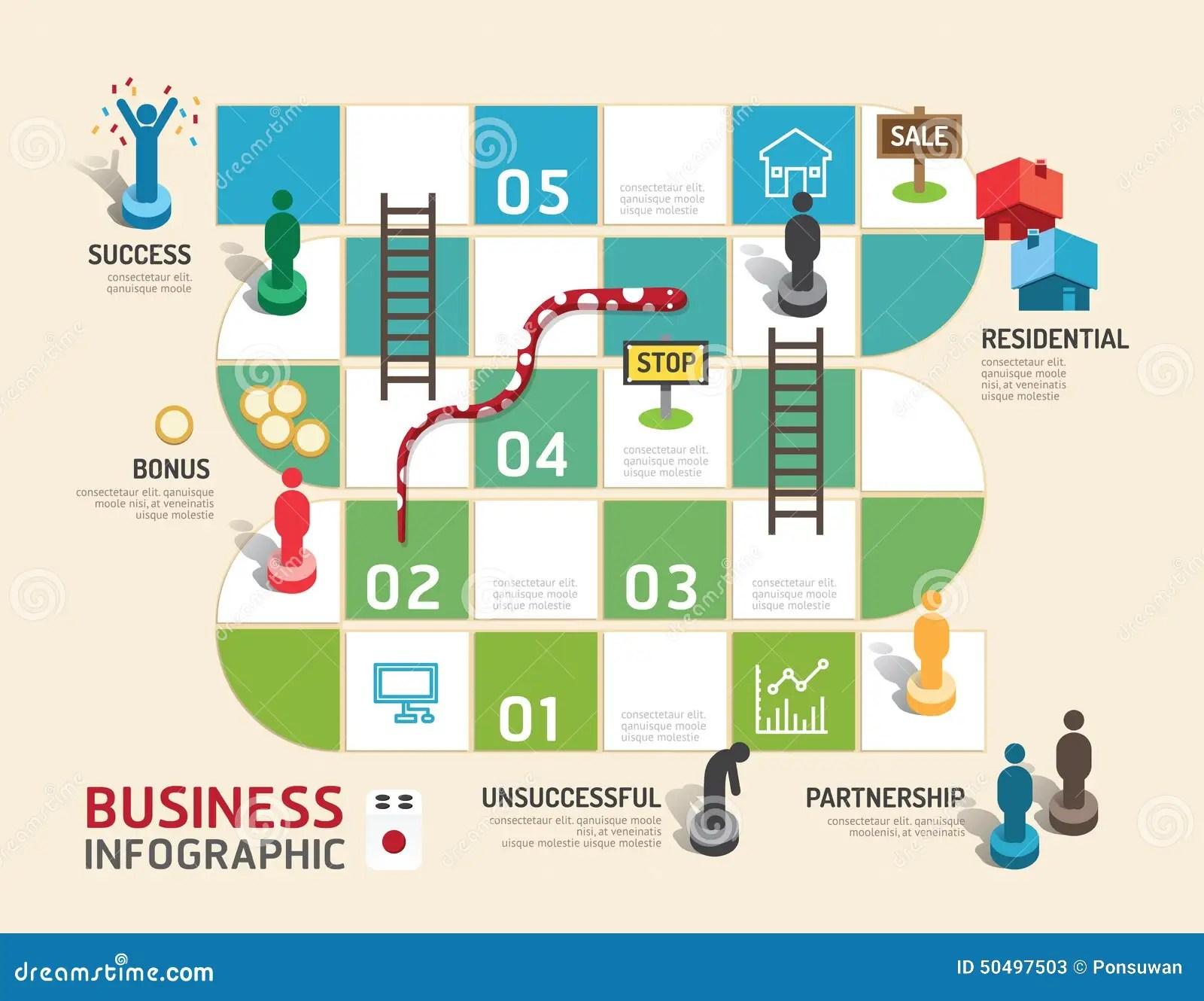 Paso Infographic Del Concepto Del Juego De Mesa Del