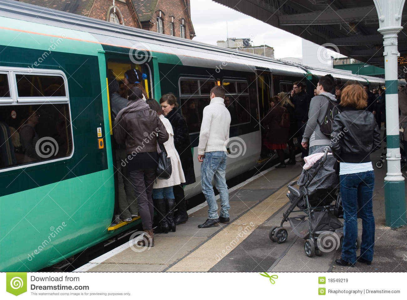 Passengers Trying To Get On A Train Editorial Stock Image