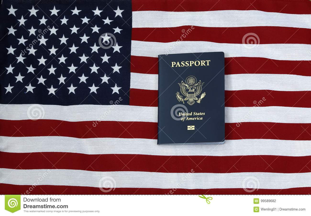 Passport United States Of America And Flag Stock Photo