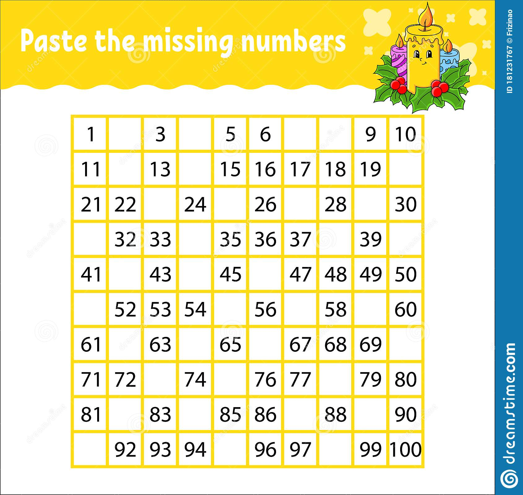 Paste The Missing Numbers From 1 To 100 Handwriting