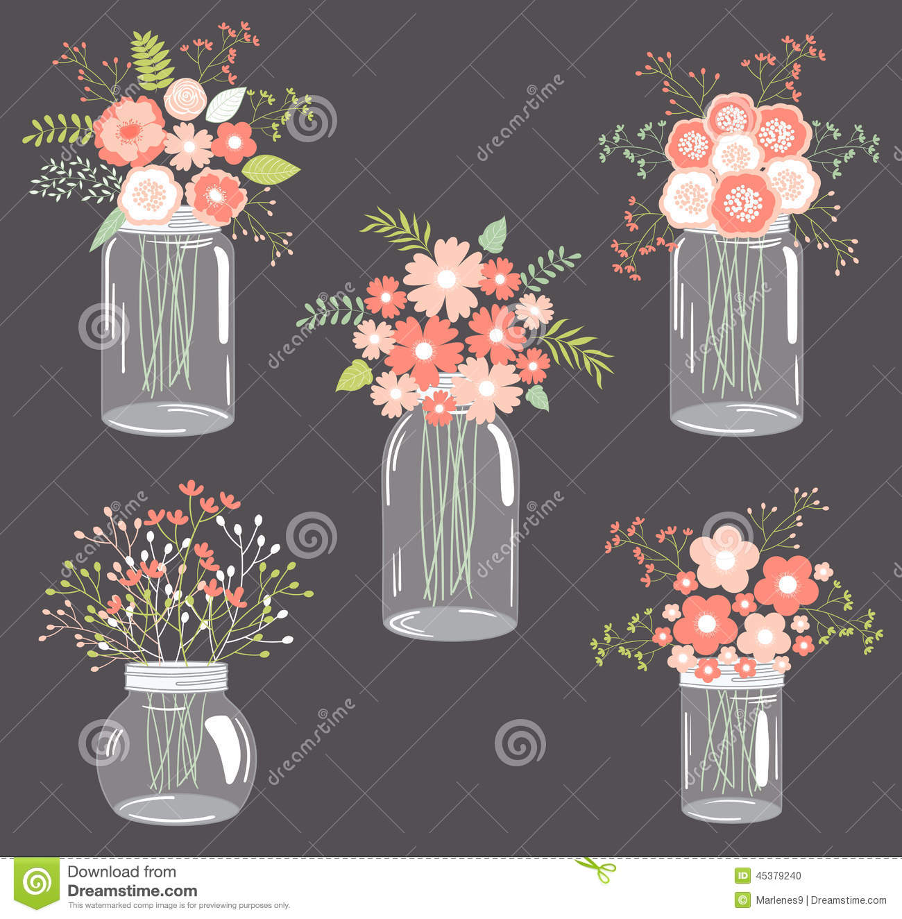 Pastel Flowers In Mason Jars Stock Vector Image 45379240