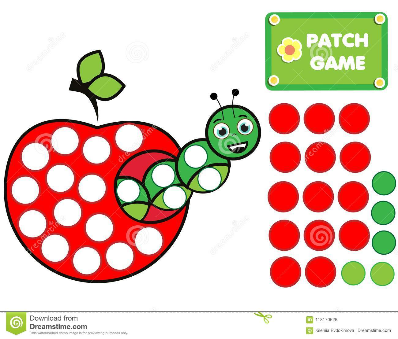 Patch Game For Children Educational Activity For Kids And Toddlers Caterpillar In Apple Stock