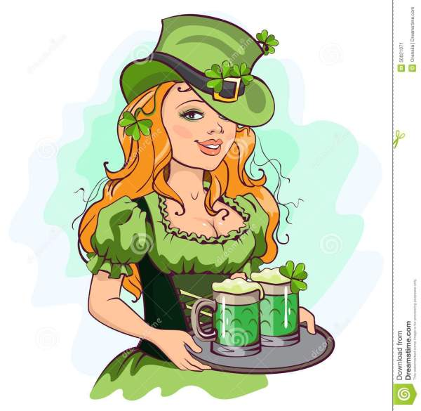 Patrick Girl Holding A Tray Of Green Beer Stock Vector ...
