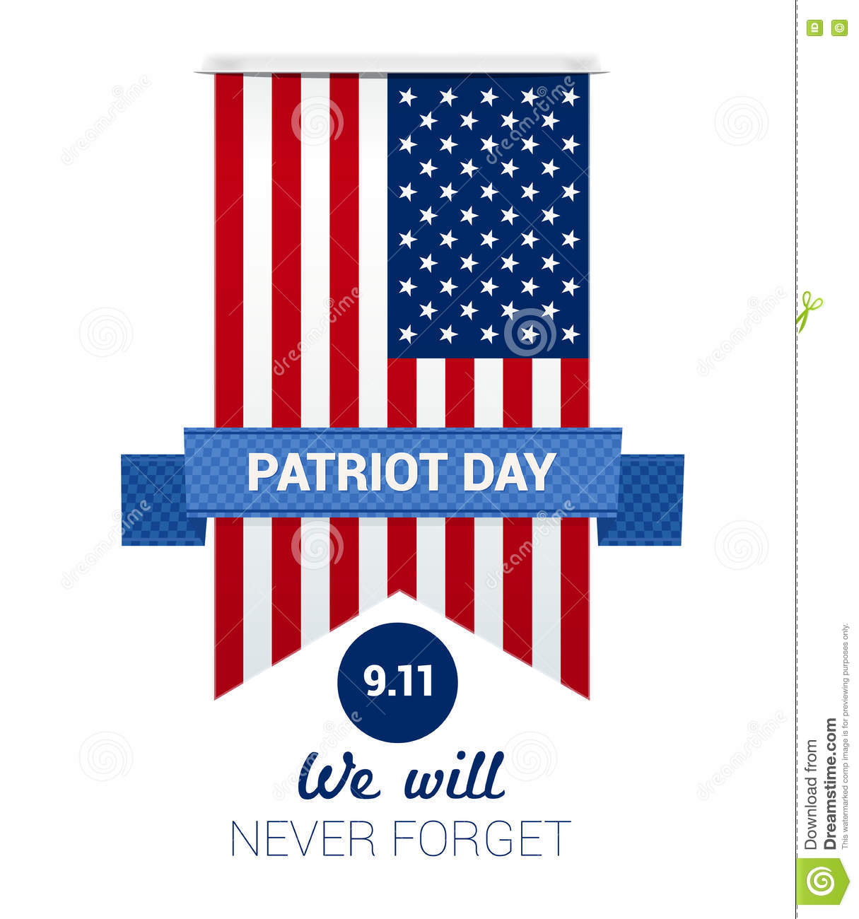 9 11 Patriot Day With Usa Flag Stock Vector