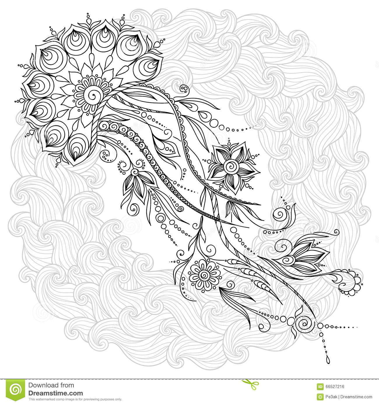 Pattern For Coloring Book Jellyfish In Vector Stock