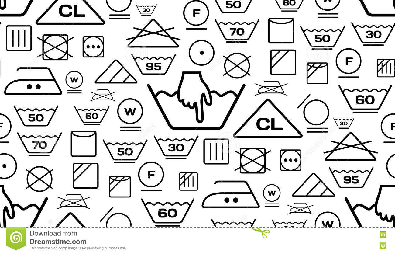 Pattern Created From Laundry Washing Symbols On A White