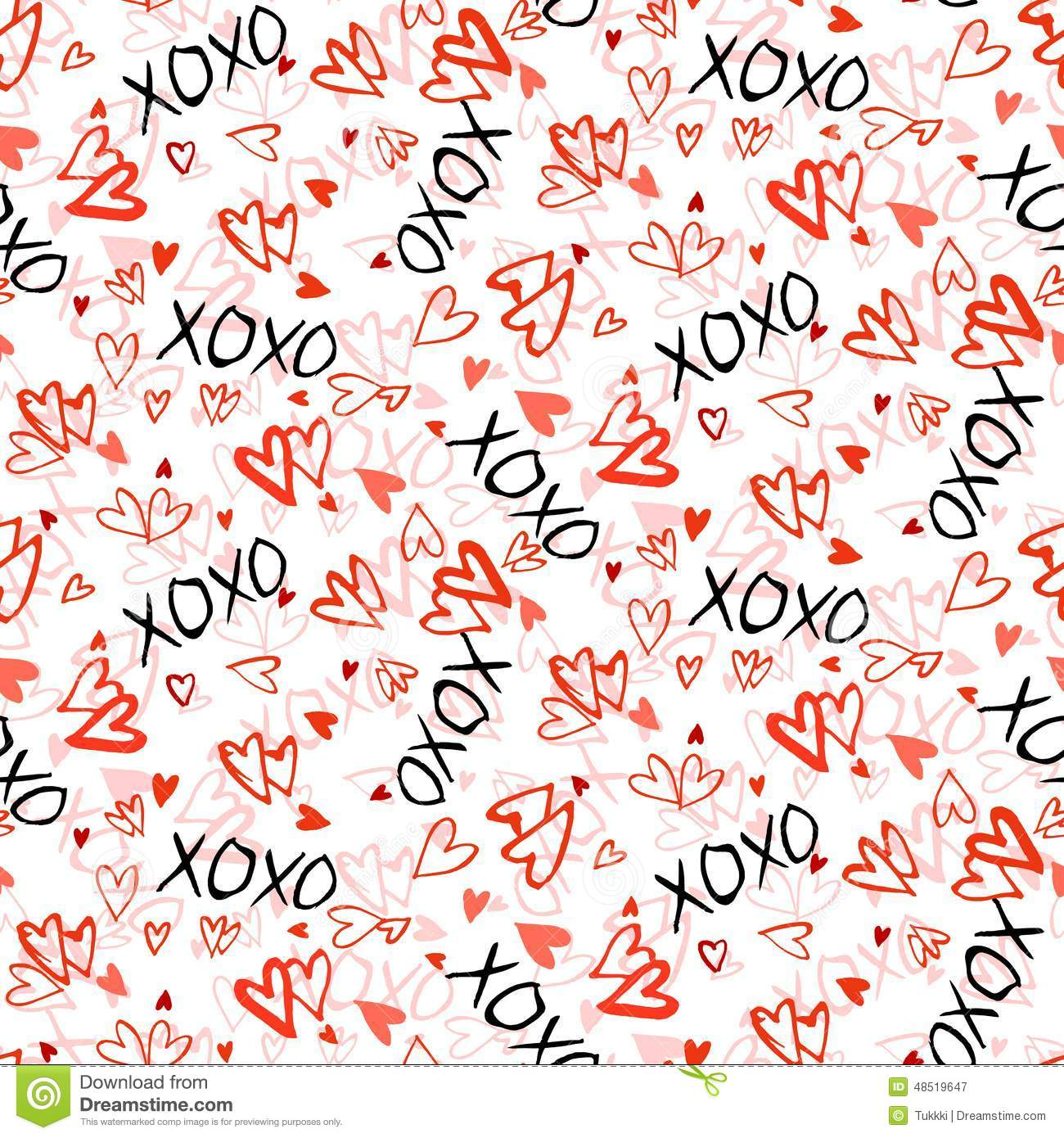 Pattern With Hand Painted Hearts Stock Vector Image