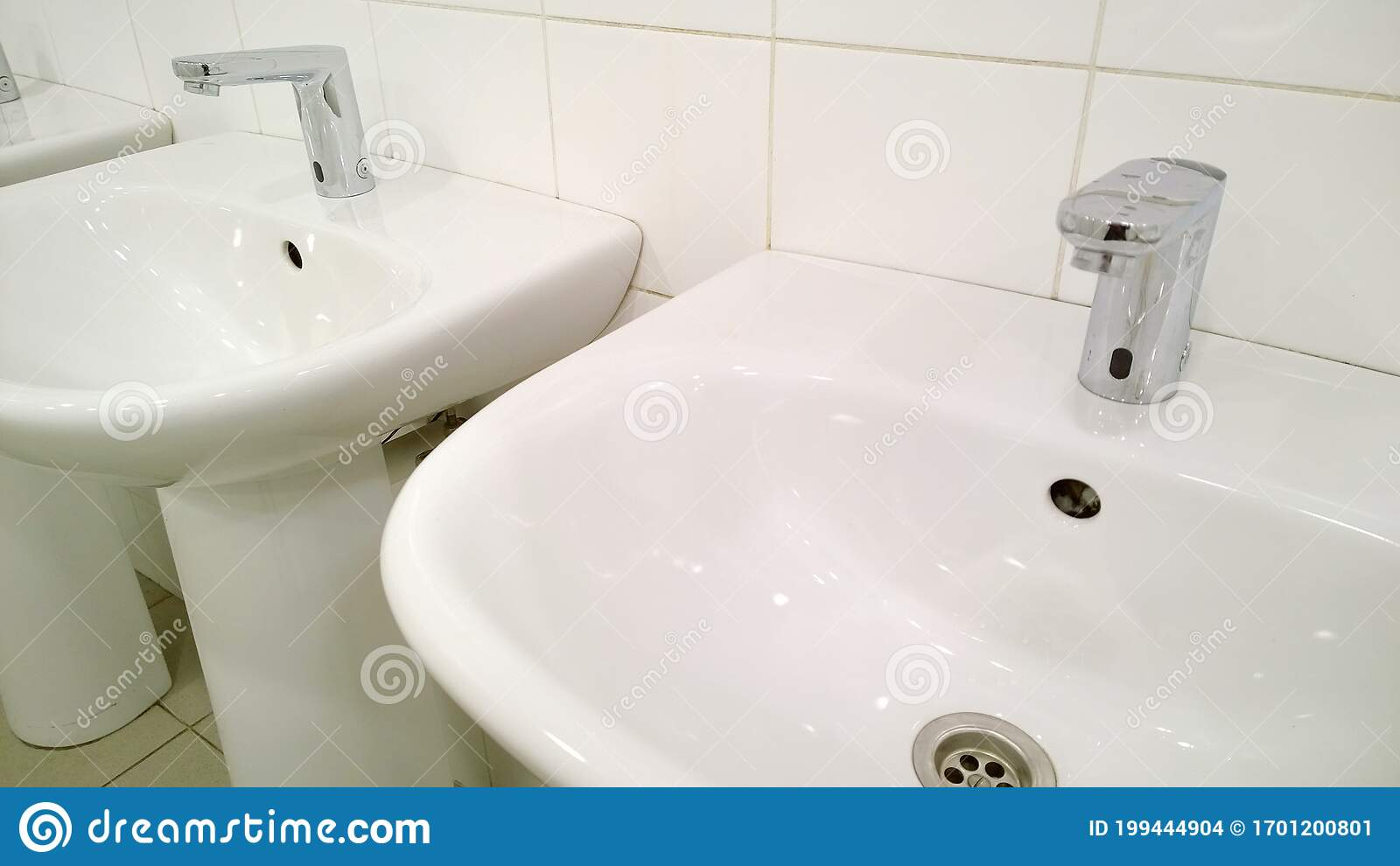 pattern of modern bathroom sink and faucet in public toilet and restroom touchless taps virus protection concept sanitary rules stock photo image of hygienic center 199444904