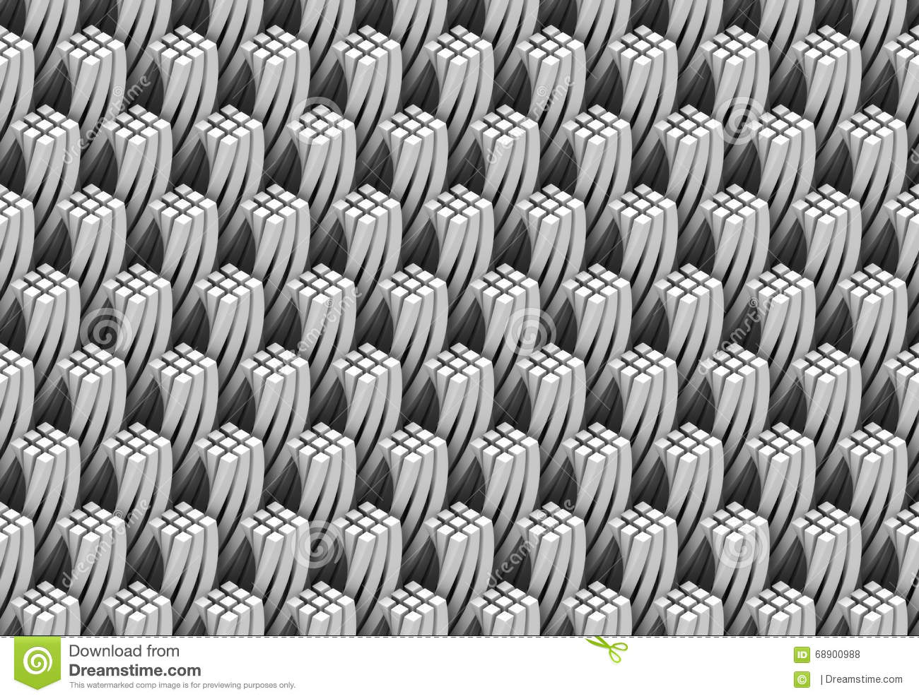 Pattern Of White And Twisted Quadrangular 3d Columns Forming Tower Shapes Stock Illustration