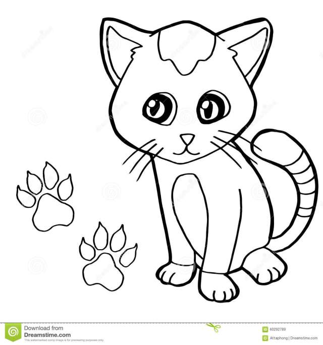 Paw Print with Cat Coloring Page Vector Stock Vector
