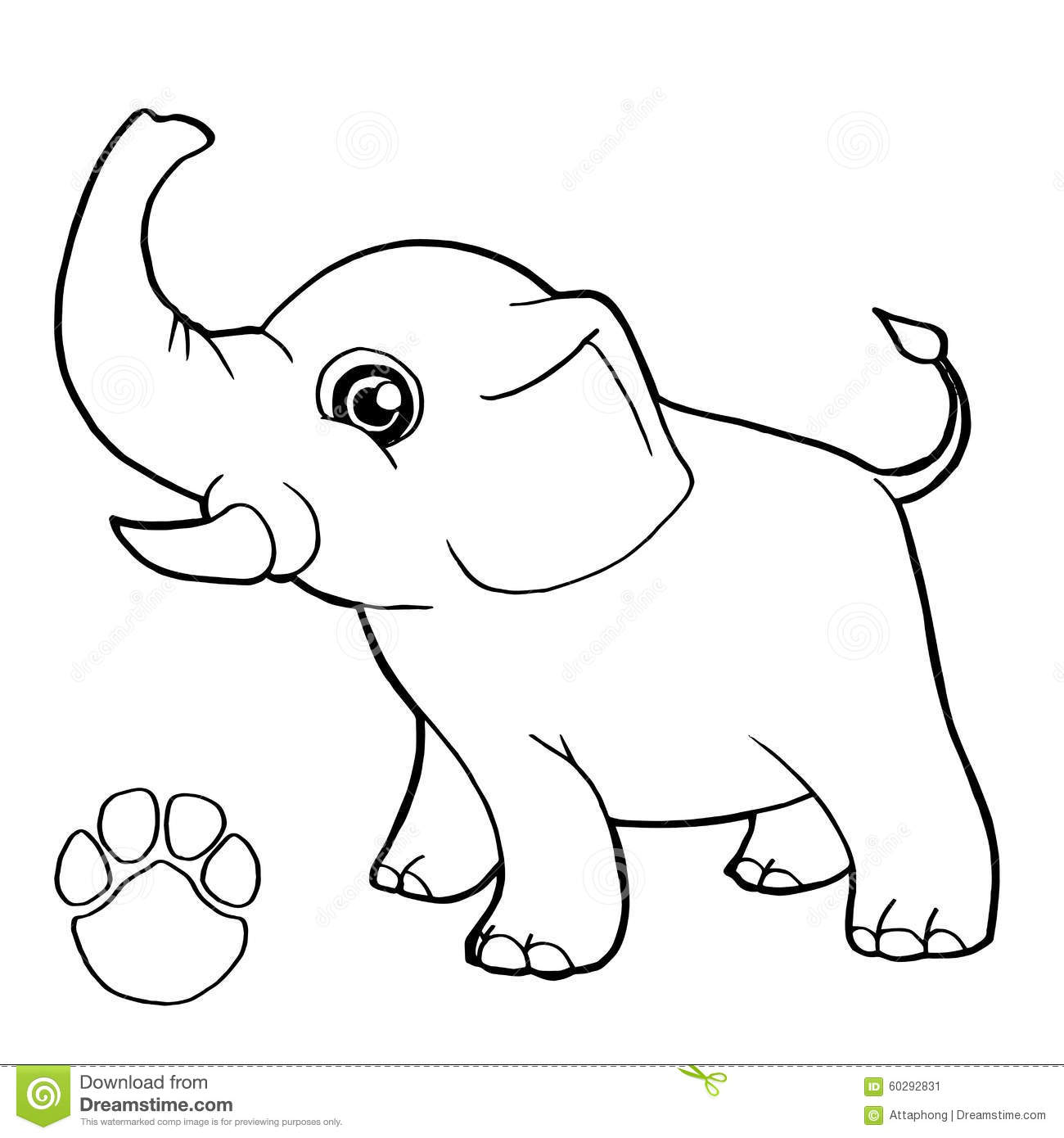 Paw Print With Elephant Coloring Page Vector Stock Vector