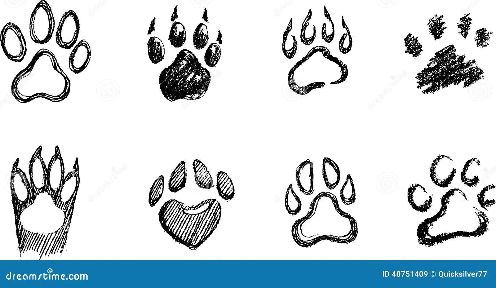 Paw Print Sketch Set Illustrazione Vettoriale