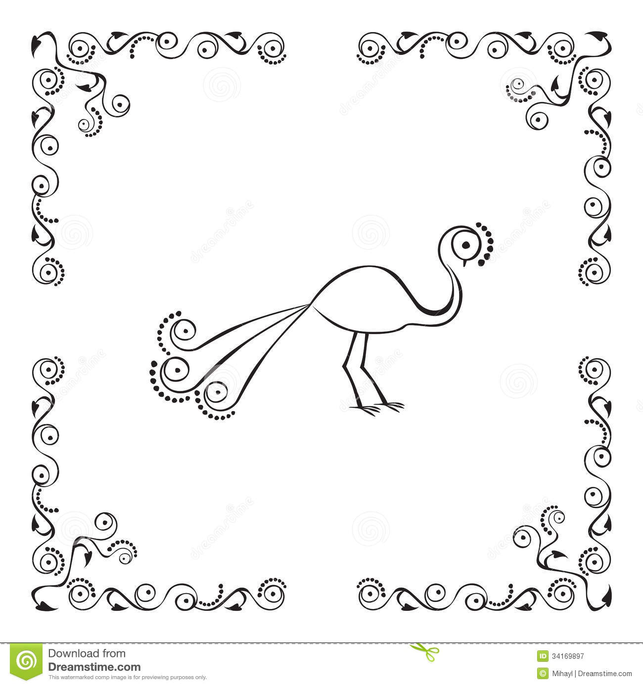 Peacock In Border Stock Vector Illustration Of Element