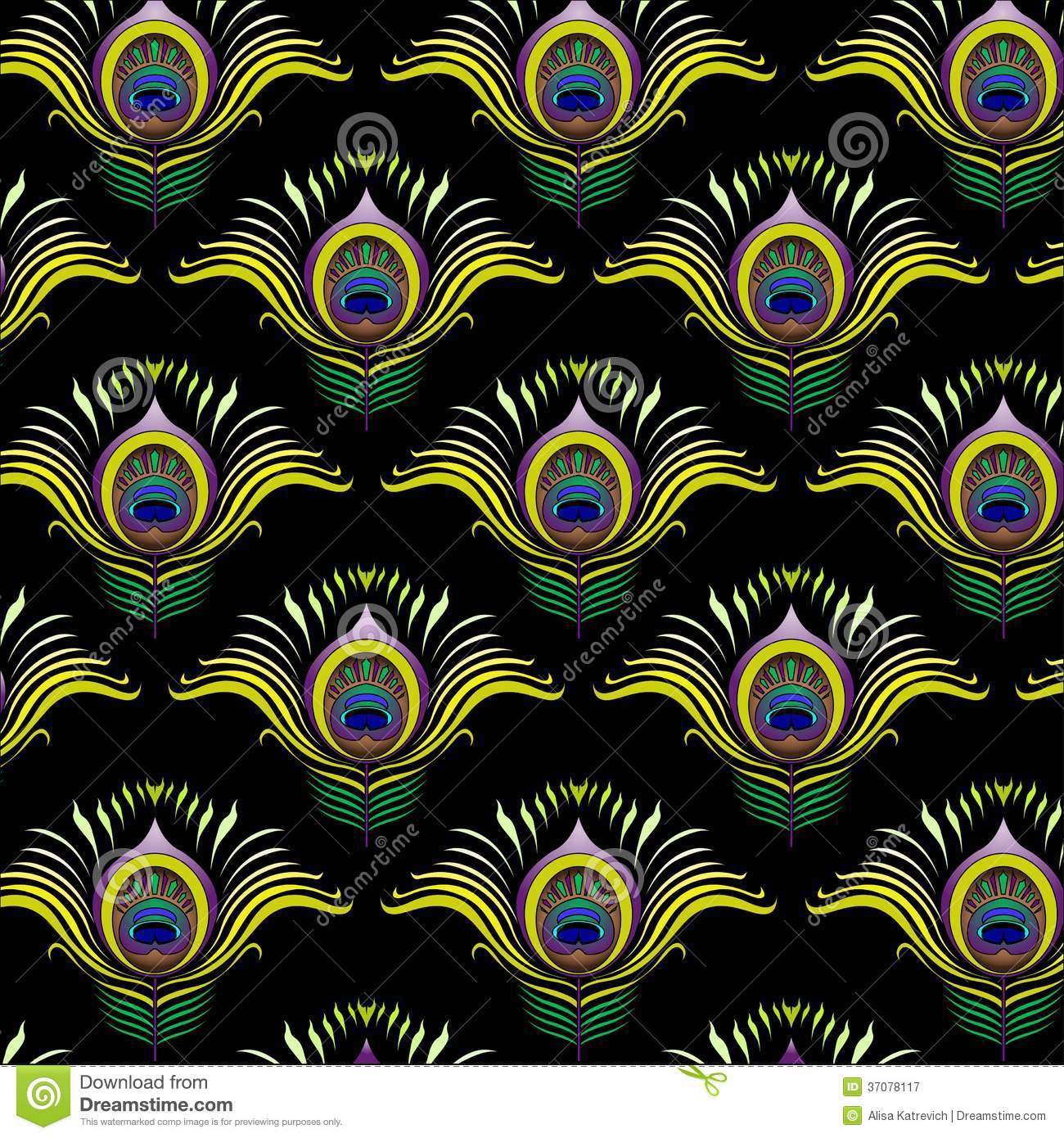 Peacock Feathers Vector Seamless Pattern Stock Vector
