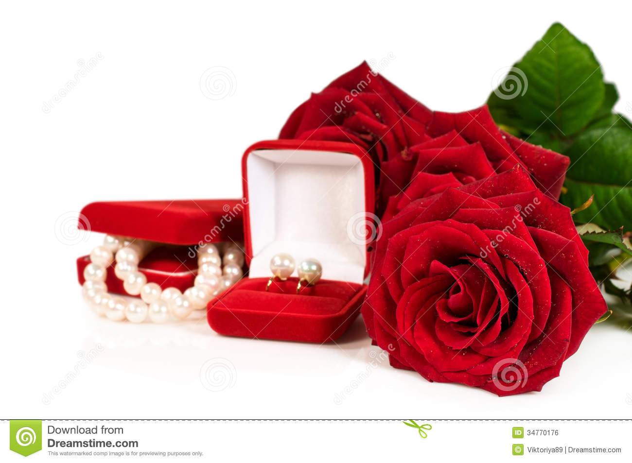 Pearl Necklace And Earrings In A Red Gift Box With A Roses