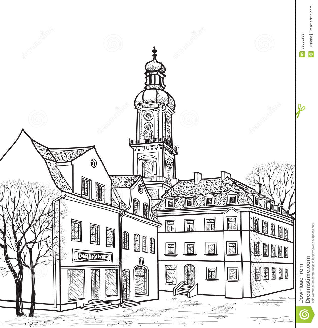Pedestrian Street In Old Town Sketch Perspective Stock