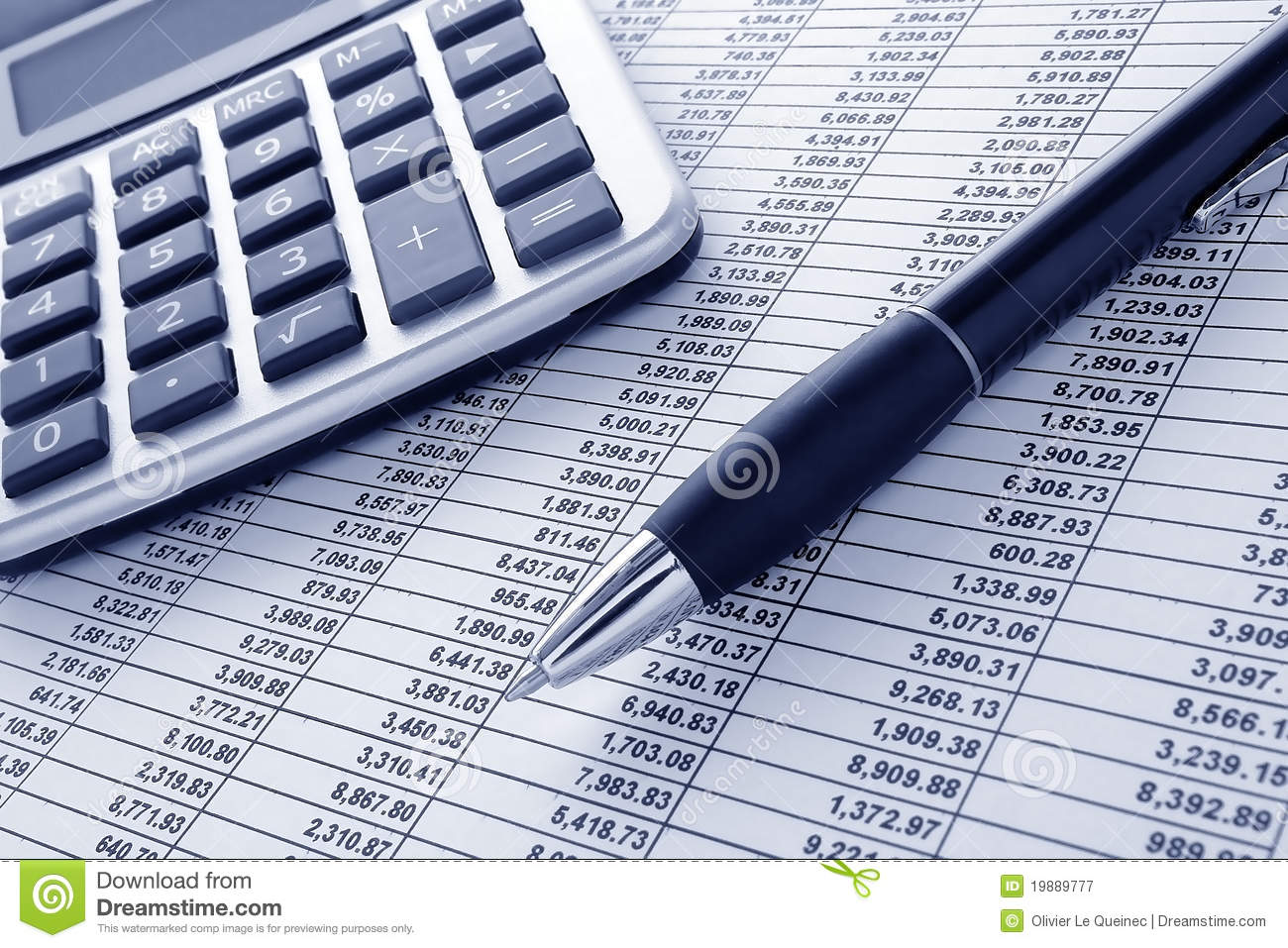 Pen And Calculator On Cash Financial Spreadsheet Stock Image