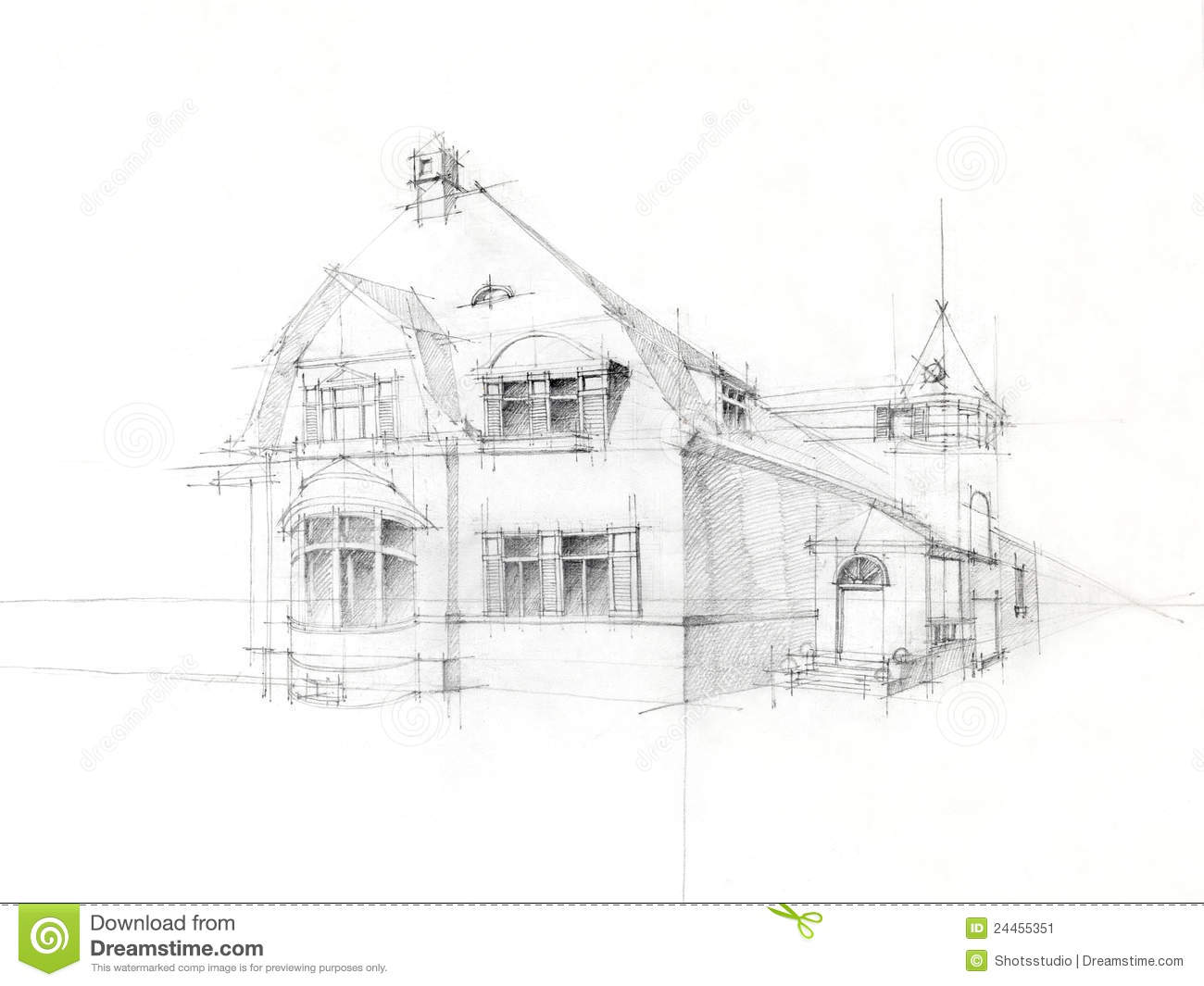 Pencil Sketch Old House On White Paper Stock Image