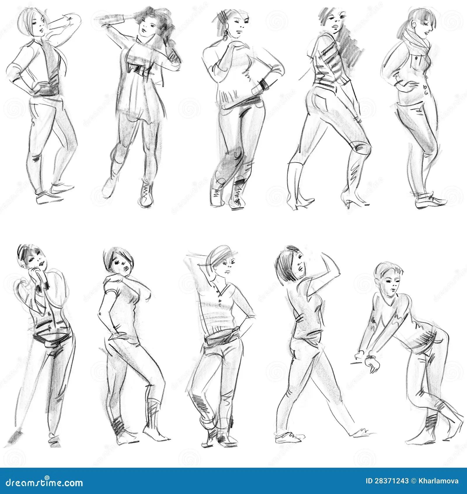 Pencil Sketches Of Figures Stock Photos