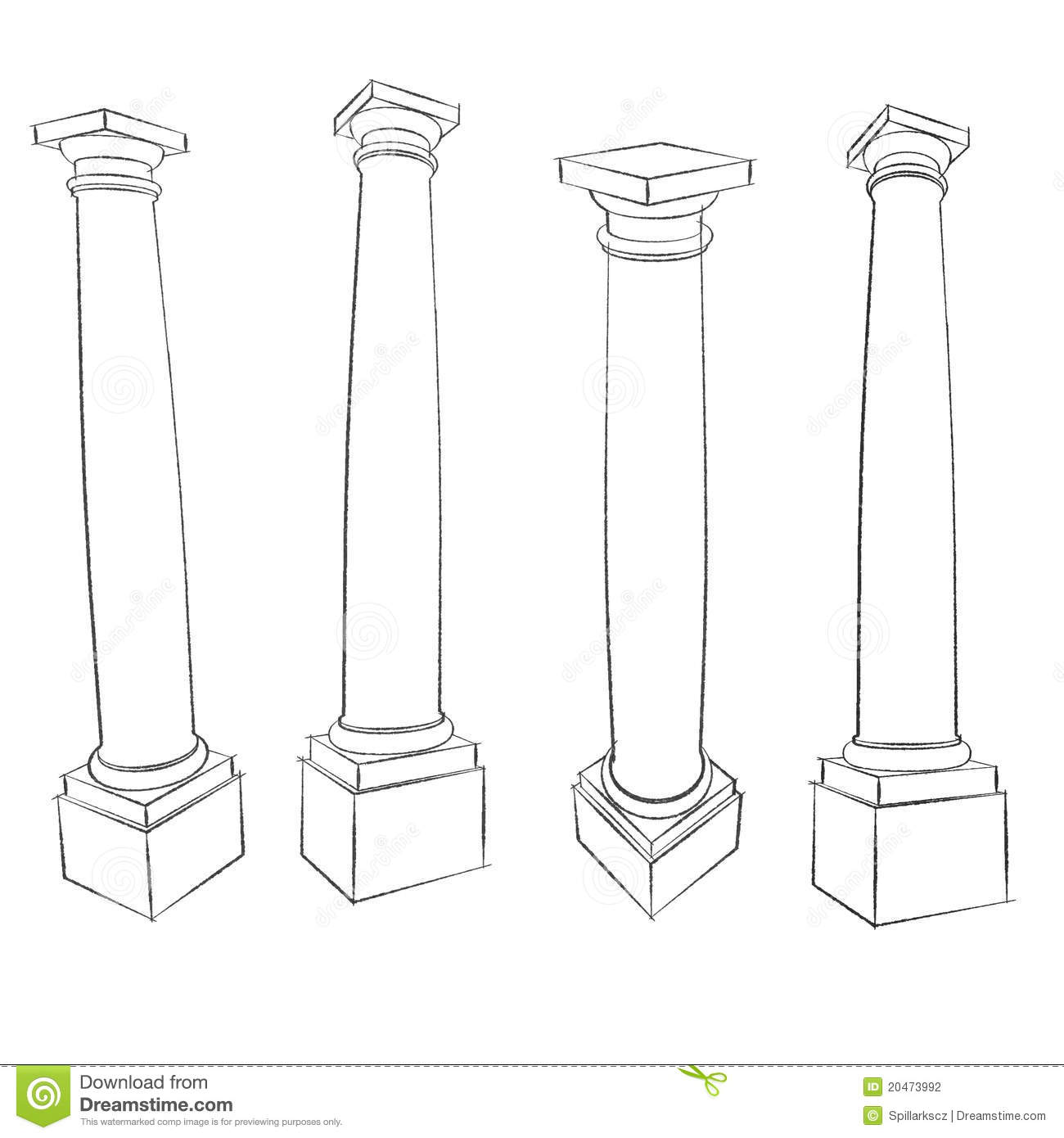 Pencil Sketches Of Roman Tuscan Column Stock Illustration
