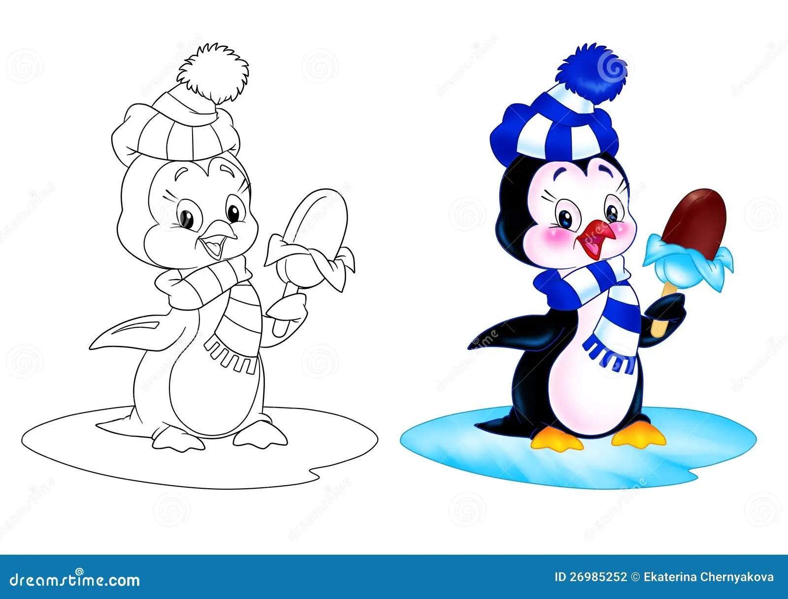 Penguin Cartoon Ice Cream Stock Photography